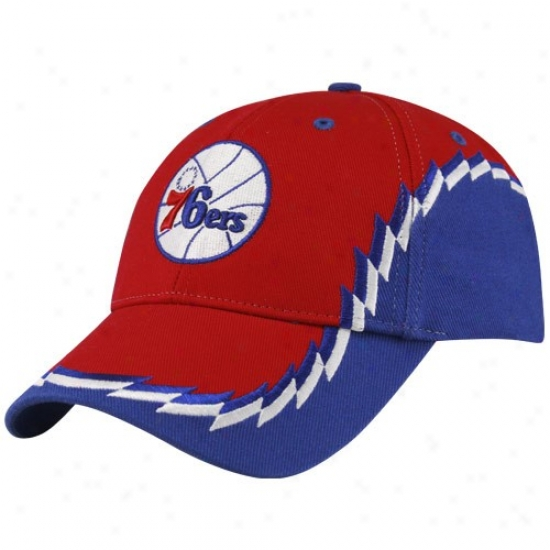 Philadelphia 76ers Gear: Twins '47 Philadelphia 76ers Red-royal Blue Bearclaw Adjustable Hat