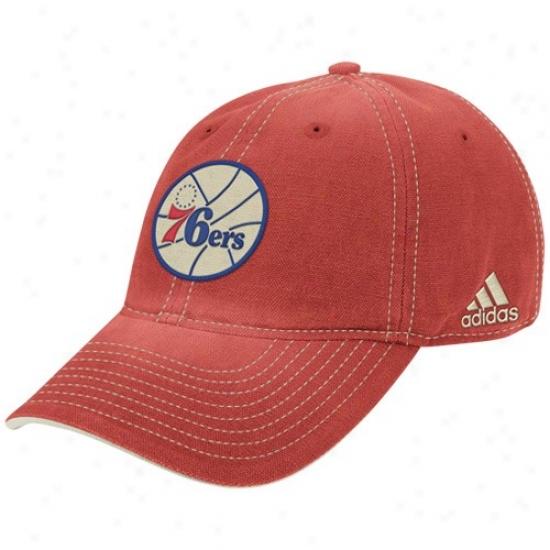 Philadelphia 76ers Hats : Adidas Philadelphia 76ers Heather Red Adjustable Lubber Hats
