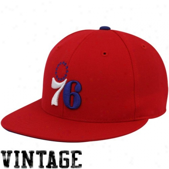 Philadelphia 76ers Hats : Mithcchell & Ness Philadelphia 76ers Red Vintage Logo Fitted Hats