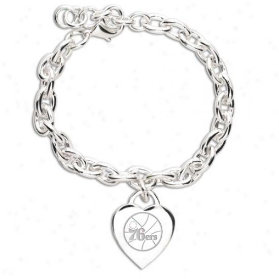 Philadelphia 76ers Ladies Silver Heart Charm Bracelet