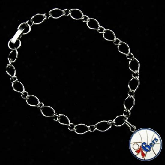 Philadelphia 76ers Ladies Silver-tone Charm Bracelet