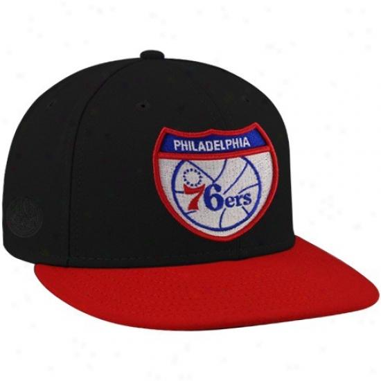 Philadelphia 76ers Merchandise: New Era-espn Philadwlphia 76srs Black Team Roads Premium Fitted Hat