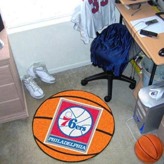 Philadelphia 76ers Orange Round Basketball Mat