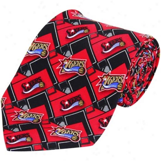 Philadelphi a76ers Red-black Pattern Tie