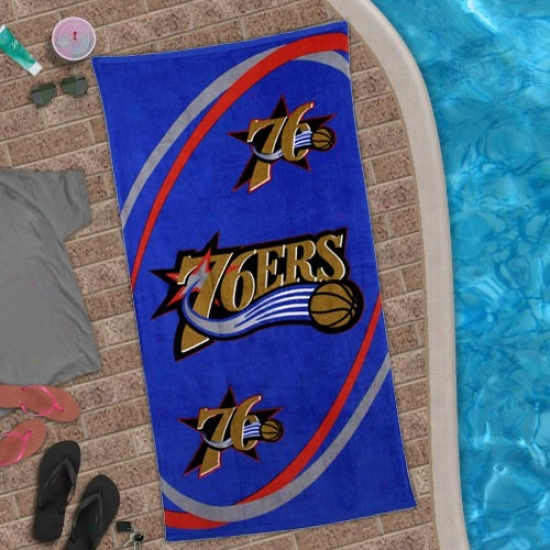 Philadelphia 76ers Royal Blue Sqirl Beach Towel