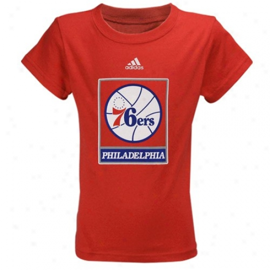 Philadeophia 76ers Shirt : Adidas Philadelphia 76ers Youth Girls Red TeamL ogo Shirt
