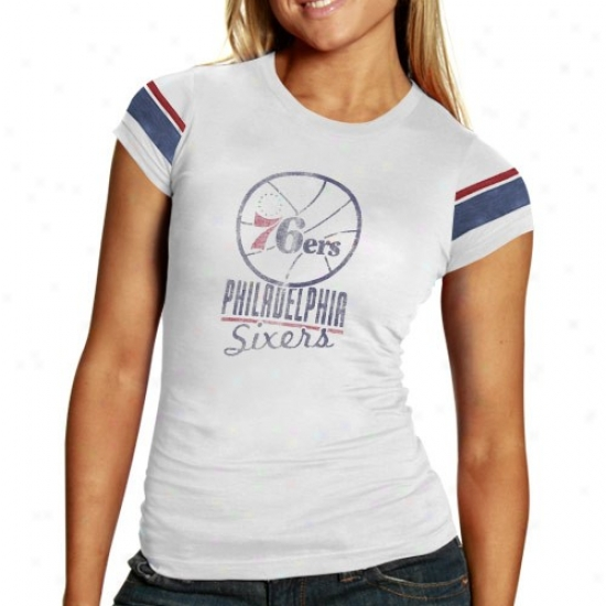 Philadelphia 76ers T-shirt : Banner '47 Philadelphia 76ers Ladies Cream Safety Premium T-shirt