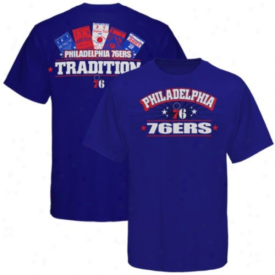 Philadelphia 76ers T Shirt : Majestic Philadelphia 76ers Royal Blue Ticket History T Shirt