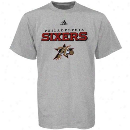 Philadelphia 76ers Tees : Adidas Philadelphia 76ers Ash True Tees
