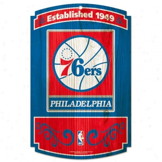 Philadelphiw 76ers Wood Sign