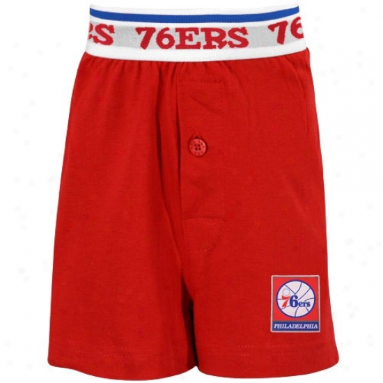 Philadelphia 76ers Youth Red Solid Banded Bixer Shorts