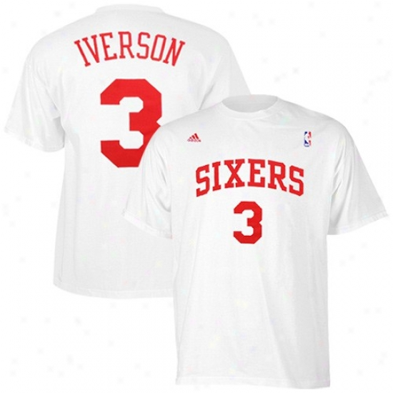 Philly 76er Apparel: Adidas Philly 76er #3 Allen Iverson White Net Player T-shirt