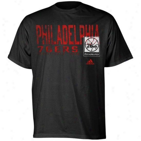 Philly 76er Apparel: Adidas Philly 76er Black Fringed T-shirt