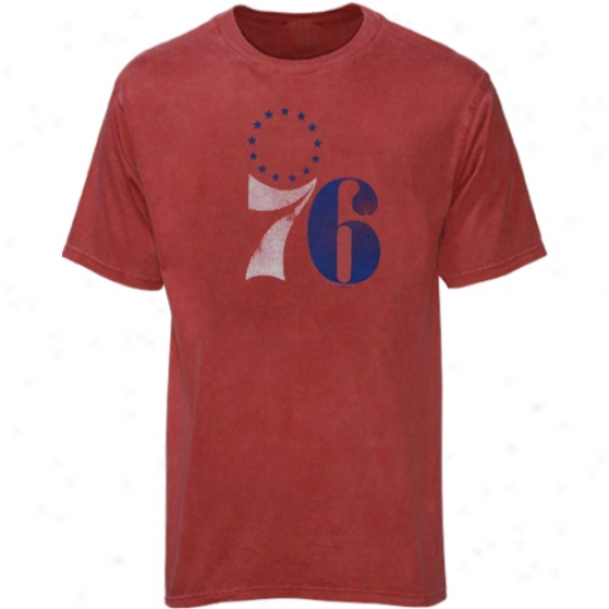 Philly 76er Apparel: Majestic Philly 76r Heather Red Big Time Play T-shirt