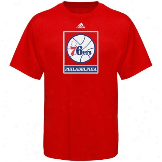 Philly 76er Attire: Adidas Philly 76er Youth Red Team Logo T -shirt
