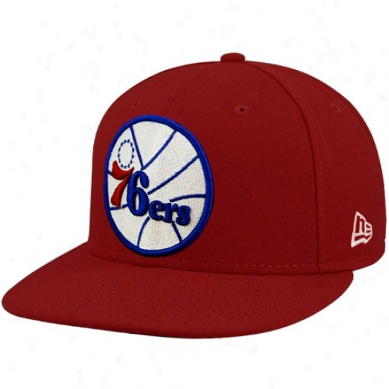 Philly 76er Hats : New Era Philly 76er Red 59fifty Primary Logo Low Brim Fitted Hats