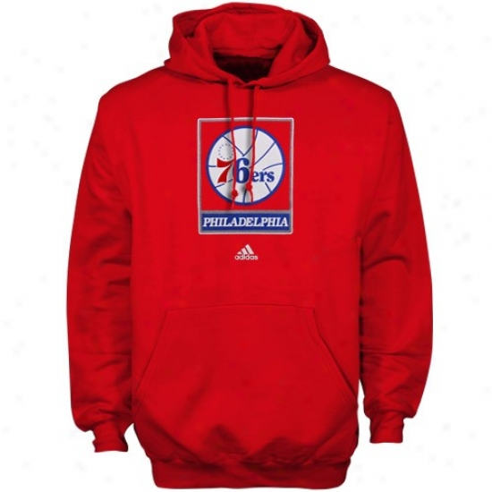 Philly 76er Hoodys : Adidas Philly 76er Red Primary Logo Hoodys