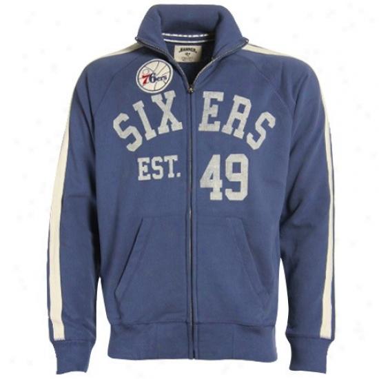 Philly 76er Jacket : Banner '47 Philly 76er Blue Scrimmage Track Jacket