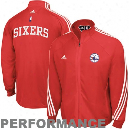 Philly 76er Jackets : Adidas Philly 76er Red On Court Performance Warm-up Jackets