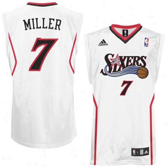 Philly 76er Jersey : Adidas Philly 76er #7 Andre Miller White Replica Basketball Jersey