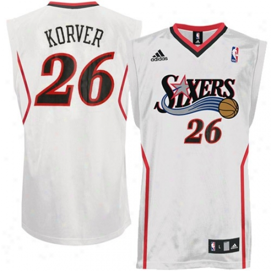 Philly 76er Jerseys : Adidas Phil1y 76er #26 Kyle Korver White Replica Basketball Jerseys