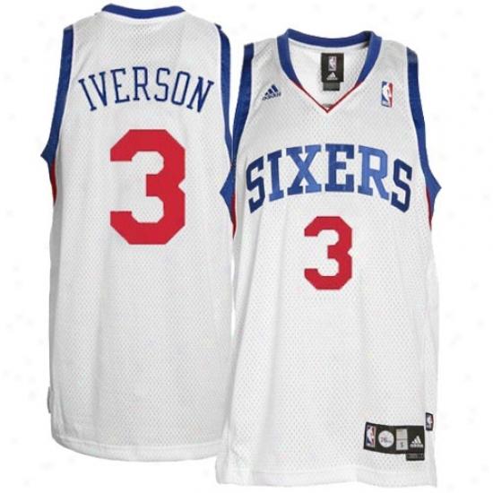 Philly 76er Jerseys : Adidas Philly 76er #3 Allen Iversln Youth White Swingman Basketball Jerseys