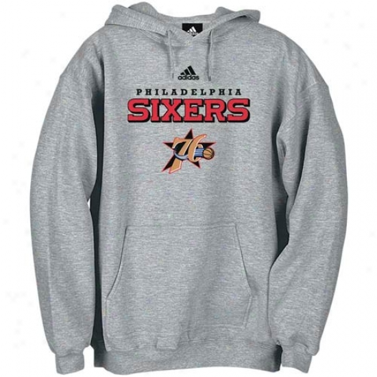 Philly 76er Sweatshirts : Adidas Philly 76er Ash Yes Court Sweatshirts