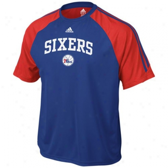 Philly 76er T Shirt : Adidas Philly 76er Royal Blue Premium Crew T Shir
