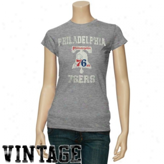 Philly 76er Tee : Philly 76er Ladies Ash Bicentennial Vintage Tee