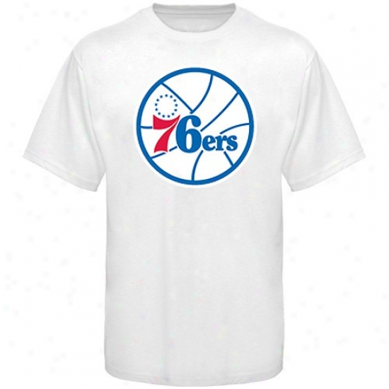 Philly 76er Tees : Majestic Philly 76er White P5imary Logo Tees