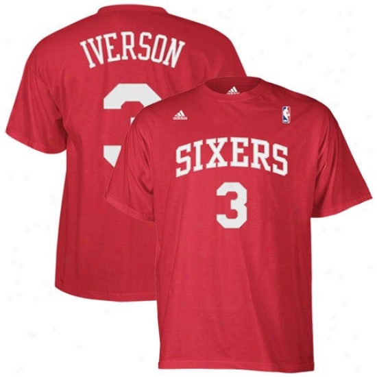 Philly 76er Tshirt : Adidas Phily 76er #3 Allen Iverson Rdd Player Tshirt