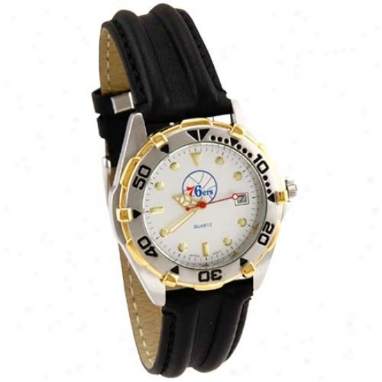 Philly 76er Wrist Watch : Philly 76er All Star Wrist Watchh W/ Black Leather Band