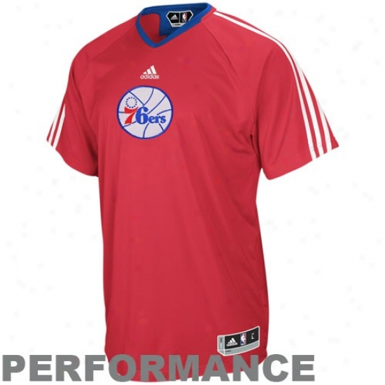 Philly 76ers Attire: Adidas Philly 76er sRed On Court Shooting Performance T-shirt
