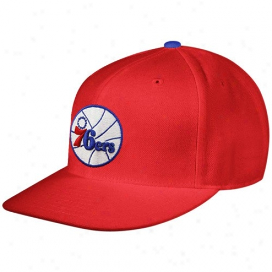 Philly 76ers Cap : Mitchell & Ness Philly 76ers Red Team Logo Fitted Cap