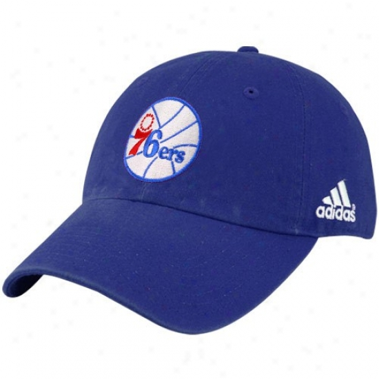 Philly 76ers Gear: Adidas Philly 76ers Royal Blue Basic Logo Adjustable Slouch Hat