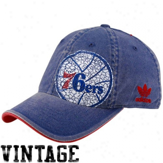 Philly 76ers Gear: Adidas Philly 76ers Royal Blue Big Logo Flex Fit Hat