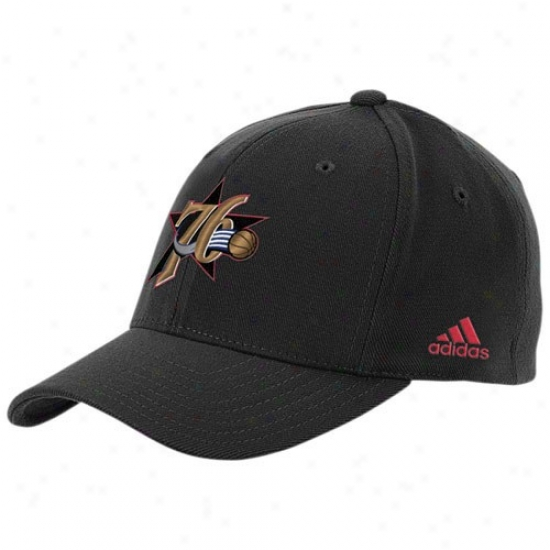 Philly 76ers Hats : Adidas Philly 76ers Black The Pivot Logo Flex Fit Hats