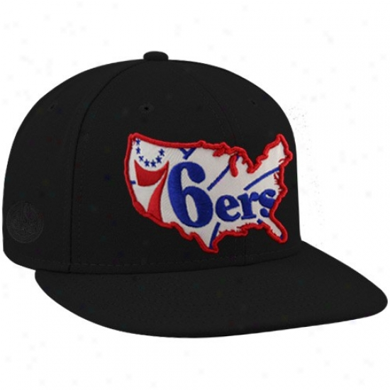 Philly 76ers Hats : New Era-espn Philly 76ers Black Insider Premium Fitted Hats
