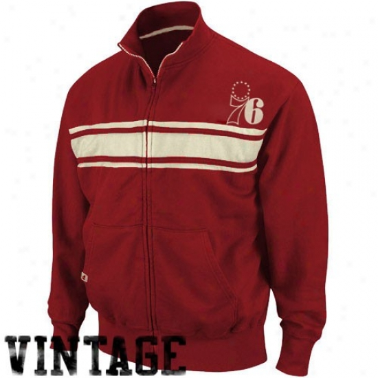 Philly 76ers Jackets : Philly 76ers Red Race Legends Track Jackets