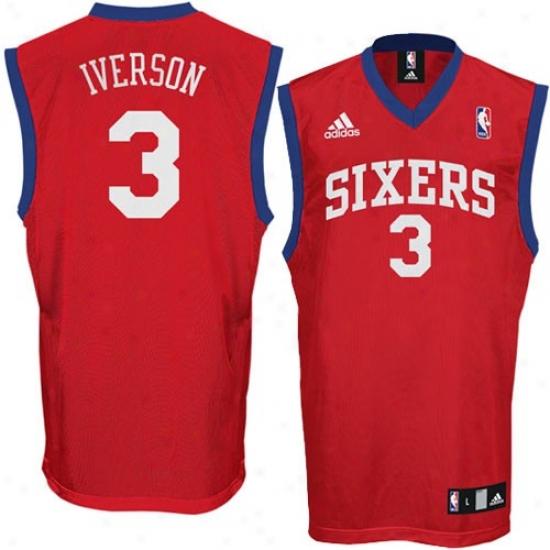Philly 76ers Jersey : Adidas Philly 76ers #3 Allen Iverson Red Replica Basketball Jersey