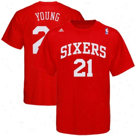 Philly 76ers T-shirt : Adidas Philly 76ers #21 Thaddeus Young Red Player T-shirt