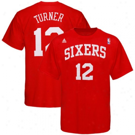 Philly 76ers Tsnirt : Adidas Philly 76ers #12 Evan Turner Red Net Player Tshirt