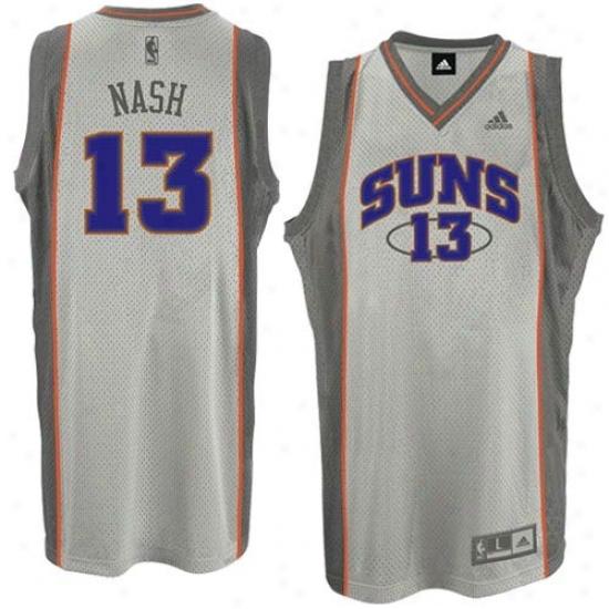 Phoenix Sun Jerseys : Adidas Phoenix Sun #13 Steve Nash Ash Glacier Swingman Basketball Jerseys