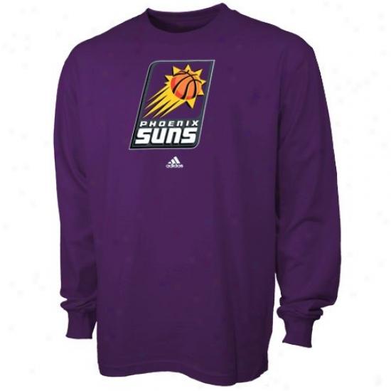 Phoenix Sun Tshirts : Adidas Phoenix Sun Youth Purple Primary Logo Long Sleeve Tshirts