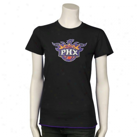 Phoenix Suns Apparel: Majestic Threads Phoenix Suns Ladies Mourning Swarovski Crystal Contrast Border Basic T-shirt