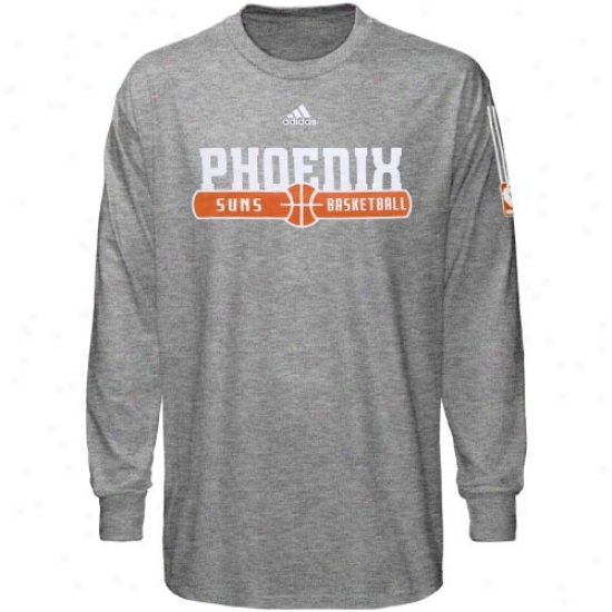Phoenix Suns Attire: Adidas Phoenix Sunns Dark Ash Ball Horizon Long Sleeve T-shirt