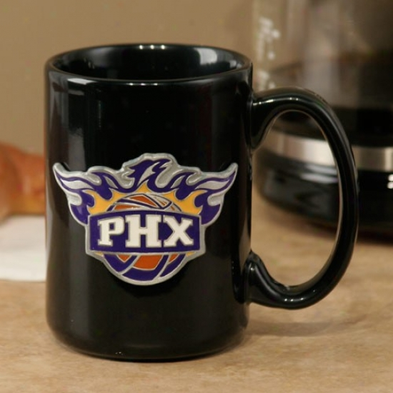 Phoenix Suns Black 15oz. Pewter Logo Ceramic Mug