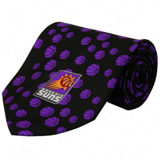 Phoenix Suns Black Basketball Print Silk Neck Tie