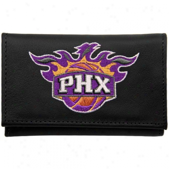 Phoenix Suns Black Leather Embroidered Trifold Wallet