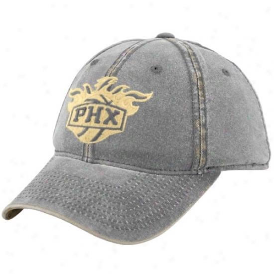 Phoenix Suns Cap : Adidas Phoenix Suns Gray Distressed Flex Fit Cap